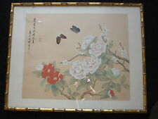 Chinese Flowers Butterfly Ink & Watercolour Painting on Silk - Signed - Framed