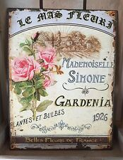 Shabby Metal Wall Plaque Chic French Vintage Tin Floral Aged Sign Gardenia Gift