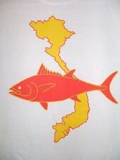 RARE Vietnam Stop Killing Fish Protest T Shirt Size S Tuna Animal Rights Asia