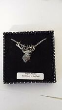 A49 Roaring Stag english pewter 3D Platinum Necklace Handmade 18 INCH