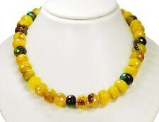 Elegante Halskette aus Achat-Steinen in Radform L- 46,5 cm