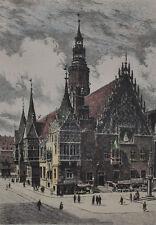 Rathaus in Breslau Schlesien alte Radierung Albrecht Bruck signiert
