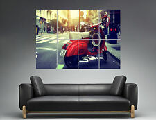 Vespa Red Vintage Cityscape Rome Wall Art Poster Grand format A0 Large Print