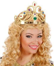 Diadem Krone mit Edelsteinen gold anpassbar NEU - Karneval Fasching Hut Mütze Ko