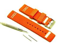 22mm Orange Nylon Watch Band Silver tone Buckle + Spring Bar Remover Tool