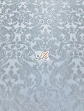 VINTAGE CLASSIC DAMASK LACE MESH FABRIC - Silver - BY THE YARD BRIDAL DRESS GOWN