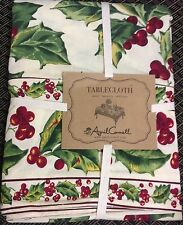 """April Cornell Tablecloth  60 x 84"""" Christmas Red Holly Green  Cotton  New oblong"""
