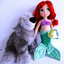 "Disney Animator's Collection Princess 16"" Doll ARIEL, extra outfits + dog MAX"
