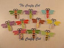 10 MIXED COLOUR DRAGONFLY 2 HOLE WOOD BUTTONS CARD MAKING SEWING CRAFTS