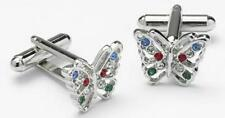 Butterfly Cufflinks with Multi coloured Crystals NEW 7699