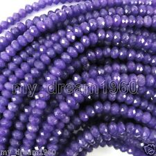 Natural 5x8mm Faceted Purple Jade Abacus Gemstone Loose Beads 15 Inch