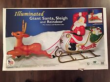 """New 72"""" Christmas Lighted Blow Mold Santa In Sleigh & Reindeer Yard Decorwtion"""