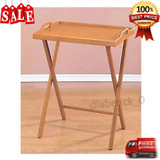 Folding TV Tray Table Stand Dinner Coffee Kitchen Wood Furniture Snack Tea NEW
