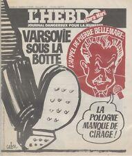 """""""L'HEBDO HARA-KIRI N°22 du 16/12/1981"""" CABU : VARSOVIE SOUS LA BOTTE"""