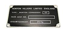 Norton villiers Limited England 06-4916 registration tag frame number plate 850