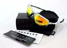 New Genuine OAKLEY TRIGGERMAN Rectangle Silver Fire Iridium Sunglasses OO9266-08