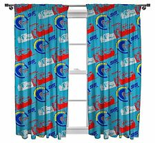 DISNEY CARS 66 x 54 READY MADE PENCIL PLEAT CURTAINS BLUE RED WHITE LIGHTNING