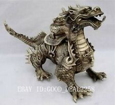 Oriental Huge Tibetan Silver Copper Handwork Carved luck Dragon Statue -- Dragon