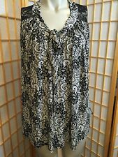 New York & Comp Black White Lace Top Sleeveless Blouse Womens Size M
