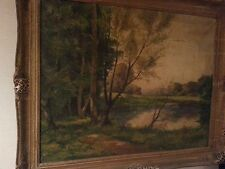 FINE ART - ANTIQUE OIL PAINTING LANDSCAPE BY LISTED ARTIST CARL WEBER 1850-1921