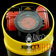 Bling Master Leather Band Icy Black Gold Finish Red Dial Real Diamond Mens Watch