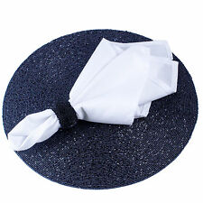 SET OF 6 WHITE EASY-CARE WASHABLE 21 INCH CLOTH DINNER NAPKINS, 100's in Stock