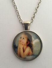 """SWEET ANGEL PICTURE PENDANT IN SILVER 16 - 22"""" CHOOSE CHAIN SIZE IN GIFT BAG."""