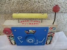 Vintage Fisher Price Pocket Radio Music Box works TV Jack Nursery rhime wood fun