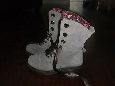 DR MARTENS AIMILIE TAUPE SUEDE FLORAL LINED 9 EYELET LACE UP BOOTS LADIES SZ 8