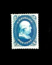 US 1860 Z Grill 1c blue,Benjamin Franklin Cv 3,000,000,Replica