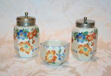 Hexagonale art deco floral condiment trio pot de moutarde, poivre pot et petit bol