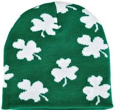 St. Patricks Day - IRISH - GREEN Winter BEANIE HAT - CLOVERS