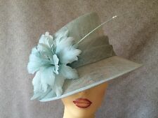 Ladies Occasion Formal Wedding Races Hat Duck Egg Blue Pale Mint Feathers Pearls