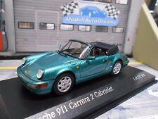 PORSCHE 911 964 Carrera 2 CABRIO CABRIOLET VERDE GREEN MET 1990 Minichamps 1:43