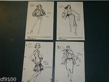 Vintage Fashion Stat Sheets 1950's & 1960's Set of 4 Ungaro #a67