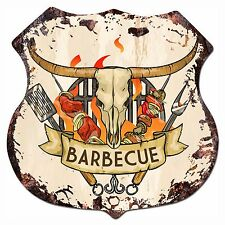BP-0015 BARBECUE Shield Rustic Chic Sign Bar Store Shop Home Decor Gift