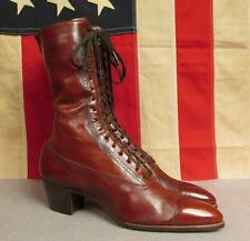 "Vintage 1900's Thompson Bros. Brown Leather Boots Victorian 10"" Length Antique"