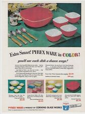 "PYREX 8x11"" REPRINT AD Mixing BOWLS Vtg 1951 REFRIGERATOR Dishes Primary Colors"