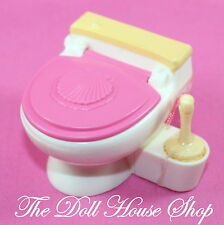 Pink Bathroom Doll toilet with Brush Fisher Price Loving Family Dollhouse potty