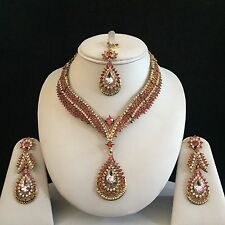 PINK GOLD INDIAN COSTUME JEWELLERY NECKLACE EARRINGS CRYSTAL DIAMOND SET NEW