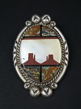 Artisan Signed Navajo Pictorial Sterling Silver Bolo Turquoise MOP Inlay M351