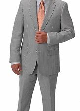 NEW 36R/30W Black/White Seersucker Suit Old Fashioned Style Lightweight