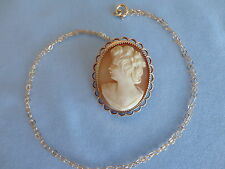 Vintage Deco Gold Filled Carved Shell Cameo Brooch/Pendant & Chain 6.4 Grams