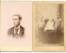 2 cabinet cards photos of cross eyed children and young man