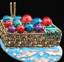 BLUE RED PURPLE SEWING BASKET BALL OF YARN KITTING NEEDLES PIN BROOCH JEWELRY