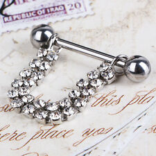 Hot 1Pcs Alloy Silver Body Nipple Bar Piercing Navel Ring Double Claw Chain