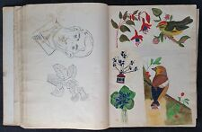 Antique Scrap Album c1920-30, Good Fashion Content, Caricatures, All Hand Drawn