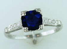 Vintage Antique 1.22ct Sapphire & Diamond Platinum Art Deco Engagement Ring