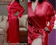 4x/5x Valentine red SATIN LONG ROBE womens LINGERIE PLUS SIZE 4x/5x