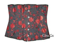 black red floral underbust corset basque size L approx Size 12